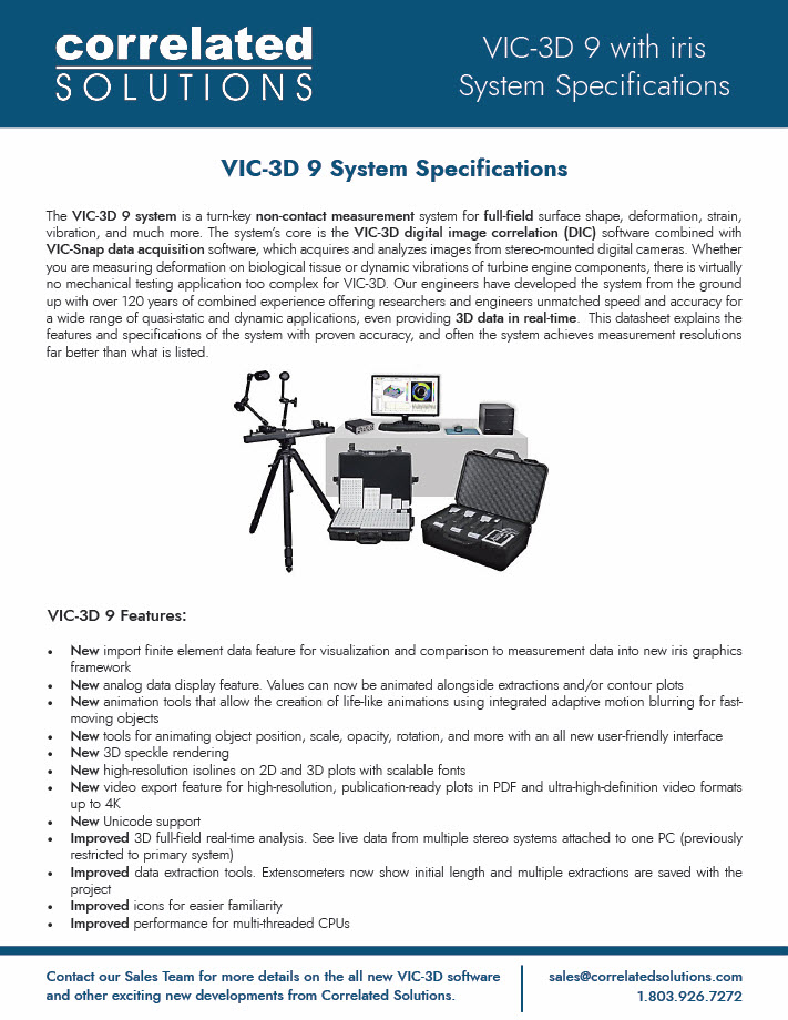VIC-3D 9 System Specifications